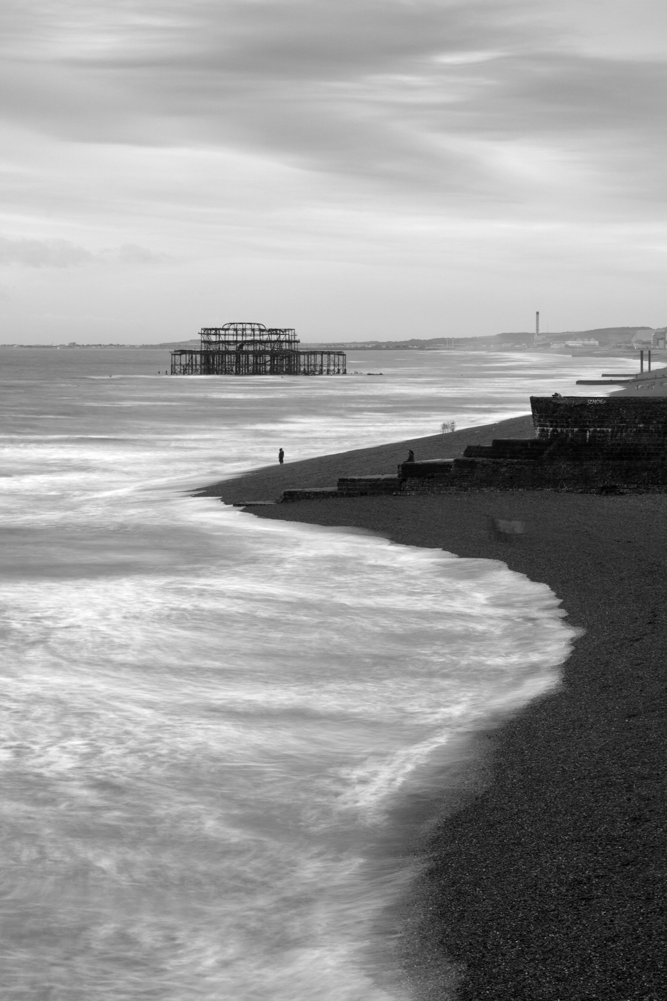 Brighton ancien pier black and white bw